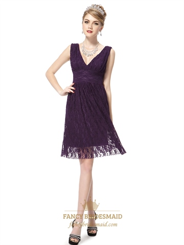 Short Dark Purple Prom Dresses Purple Cocktail Dresses With Lace OverlayPurple Lace Cocktail