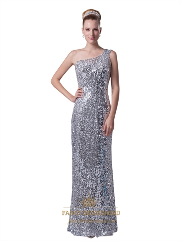 Silver Sequin One Shoulder Sheath Floor Length Prom Evening Dress  Fancy Bridesmaid Dresses