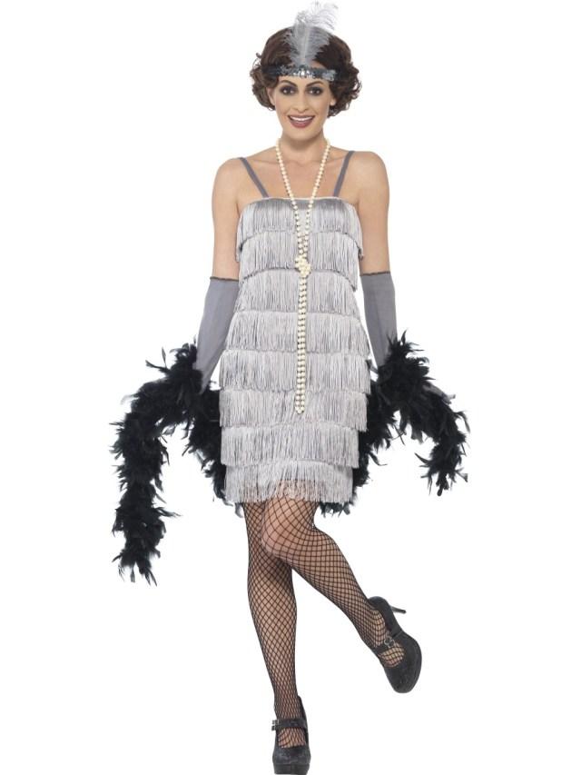 Adult Short Silver Flapper Costume - 44671 - Fancy Dress Ball