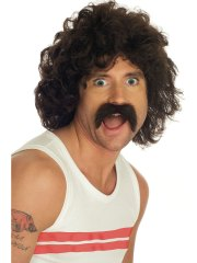 adult brown curly wig and tash