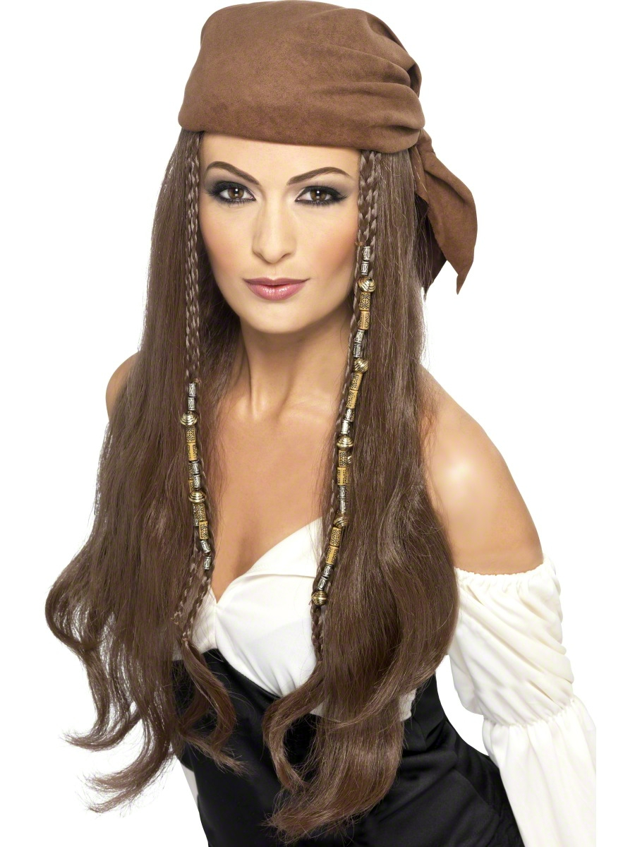 Adult Brown Pirate Wig with Bandana  21398  Fancy Dress Ball