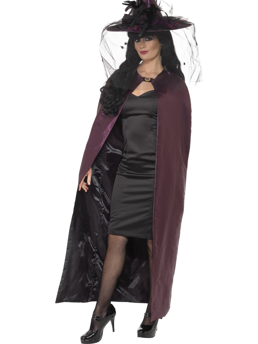 Deluxe Purple And Black Reversible Witches Cape 36873 Fancy Dress Ball