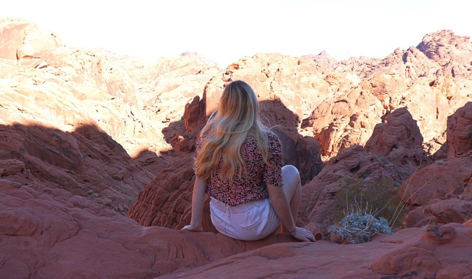 sitting on rocks