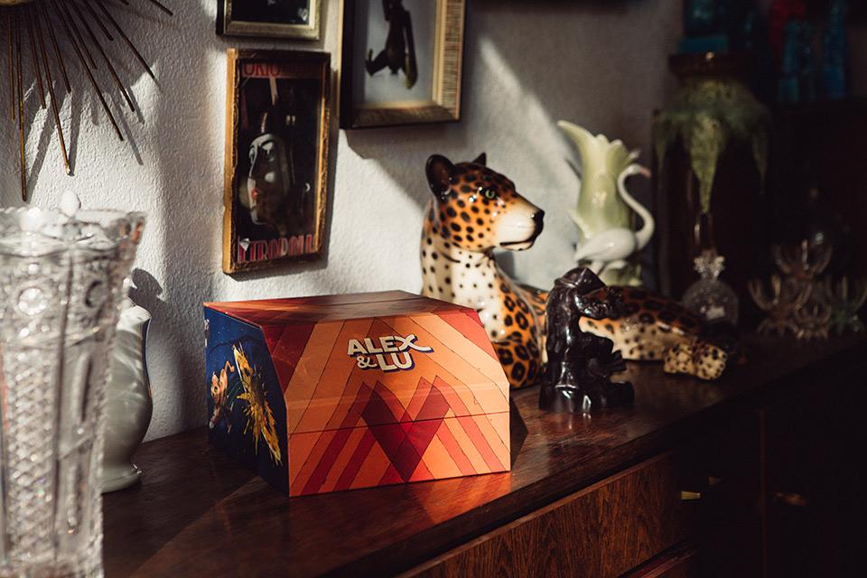 fotos de boda en una caja ilustrada