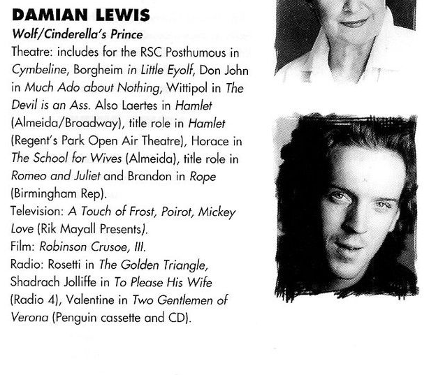 Damian Lewis in Into the Woods playbill, source: ebay.ca