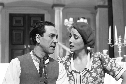 Robert Lindsay (l) who plays Bill Snibson and Emma Thompson (r) who plays Sally Smith during rehearsals ahead of the play opening the following week. 'Me and My Girl', the show with the Lambeth Walk, opens next week. The hit musical of the thirties and fourties ran for 1,646 performances at the Victoria Palace.