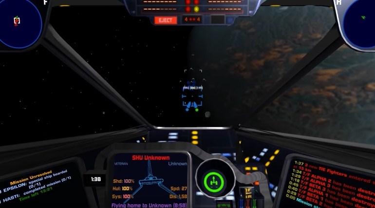 x-wing star wars unity engine