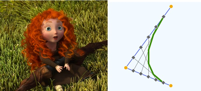 Brave used to show how grass is made using parabolic arcs