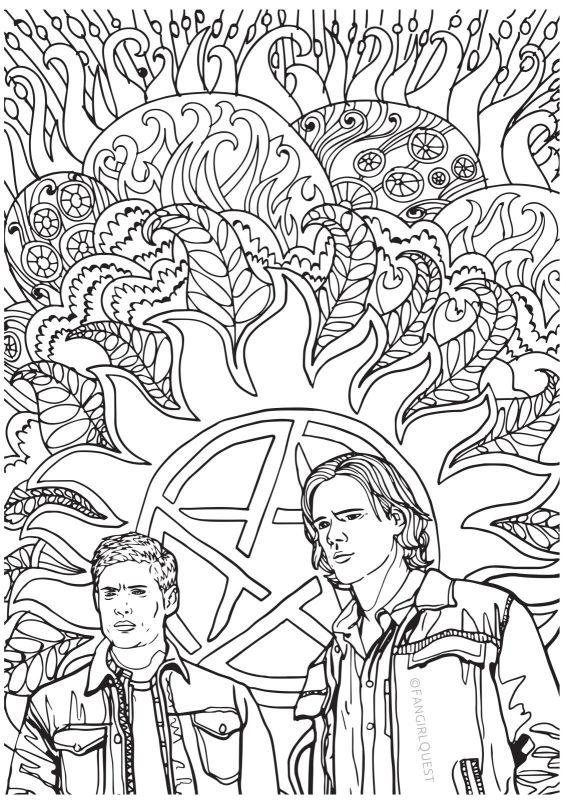 supernatural coloring pages supernatural coloring book fangirl quest