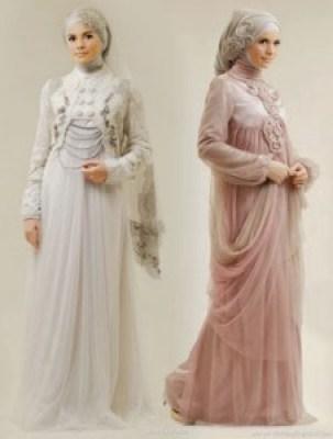 Gaun pengantin muslimah elegan simple