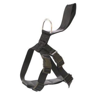 Arnés de seguridad. Se aprecia que se compone de un enganche circular metálico, una región a modo de pasador fabricada del mismo material que el cinturón de seguridad y el arnés propiamente dicho.