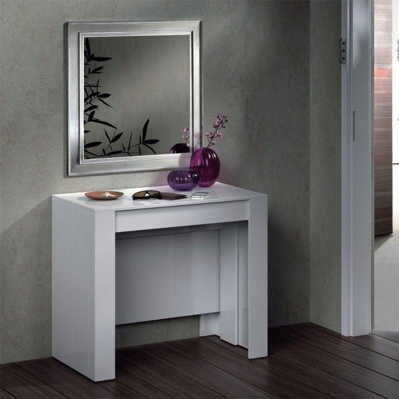 Mesa Consola Extensible Blanco Brillo  FanMuebles