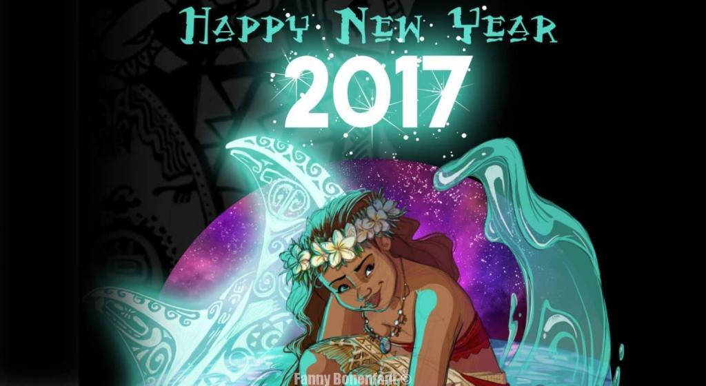 bonne année 2017 avec Moana (Vaiana) illustrée par Fanny Bonenfant