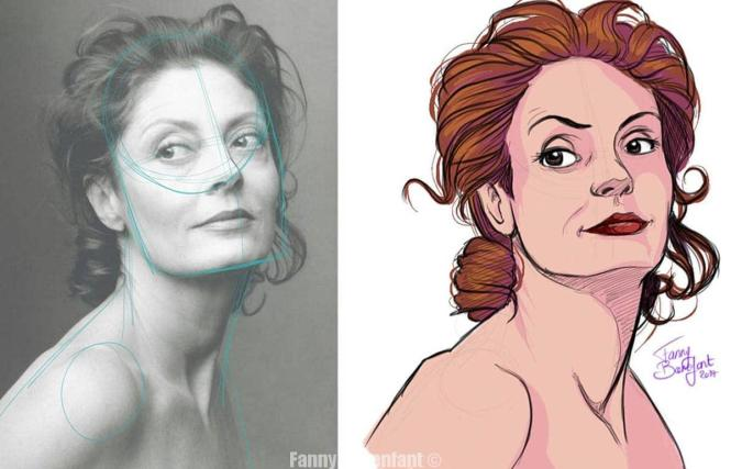 Encrage et couleur du portrait sur Sketchbook de Susan Sarandon par Fanny Bonenfant