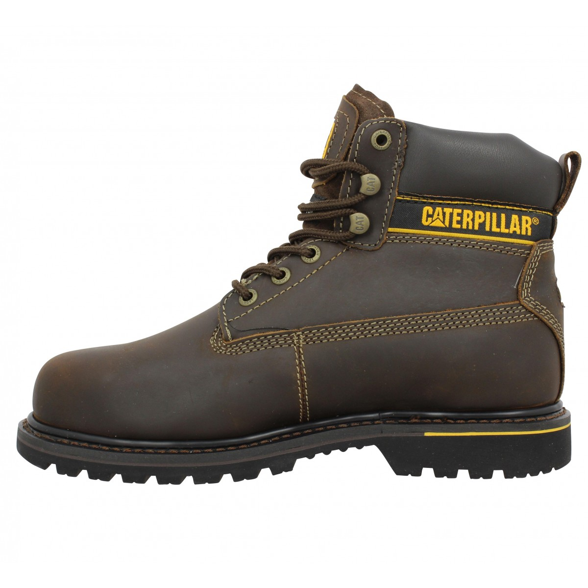 Caterpillar Holton Cuir Homme Marron Fonce Fanny Chaussures