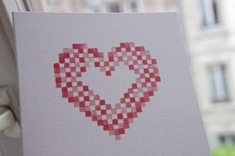 Faire part mariage cœur brodé