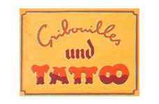 Enseigne panneau peint Gribouilles und Tattoo
