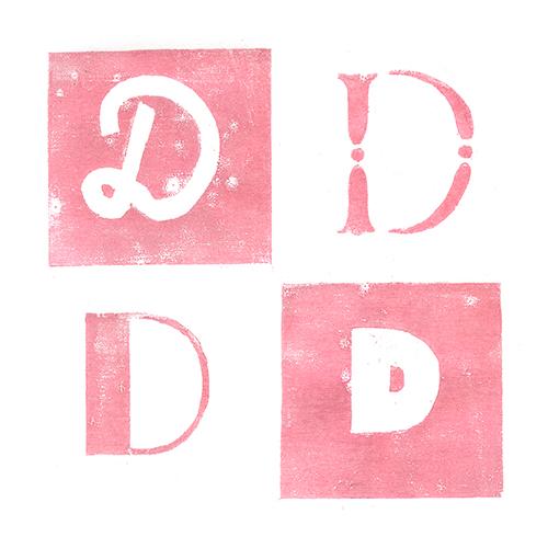 Lettre D gravure sur bois