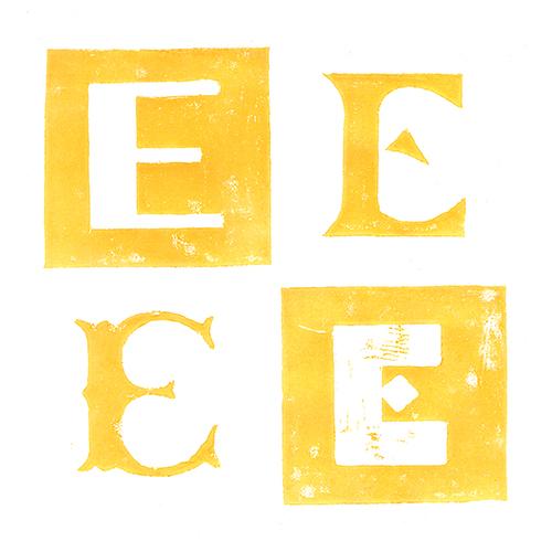 Lettre E Gravure sur bois