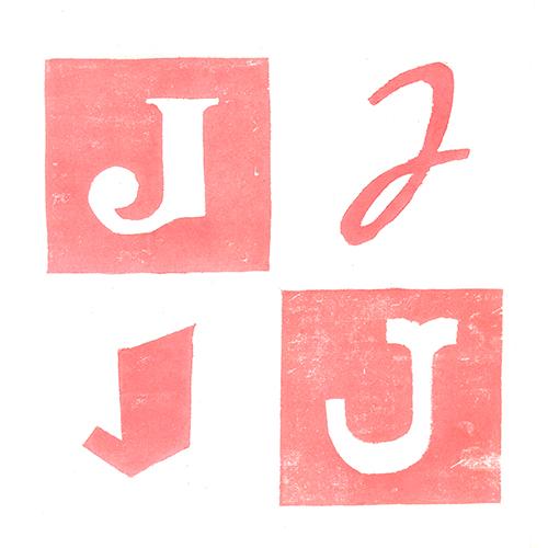Lettre J Gravure sur bois