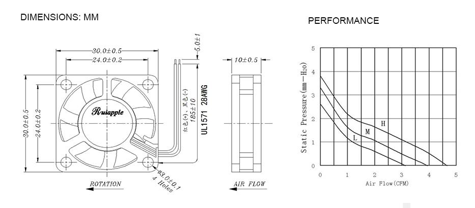 High Speed 30mm 12V DC Fan Cooling Fan 30x30x10mm