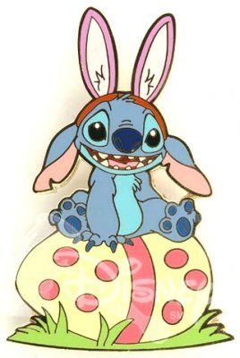Stitch sits on his Easter egg pin from our Pins collection  Disney collectibles and memorabilia