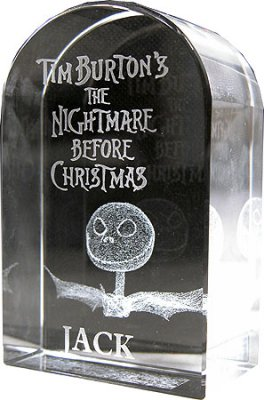 Jack Skellington tombstone paperweight from our Nightmare
