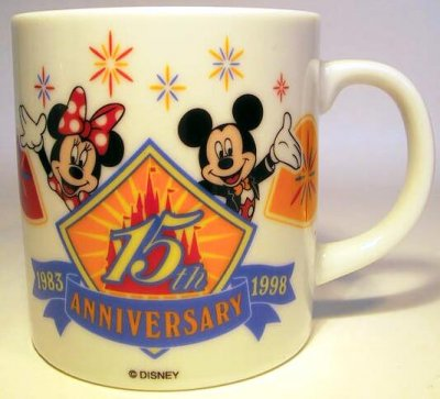 Tokyo Disneyland 15th anniversary mug from our Mugs  Cups collection  Disney collectibles and