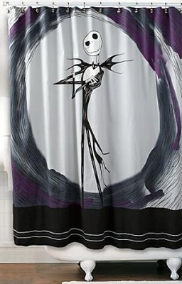 Jack Skellington shower curtain from our Nightmare Before Christmas Bathroom accessories