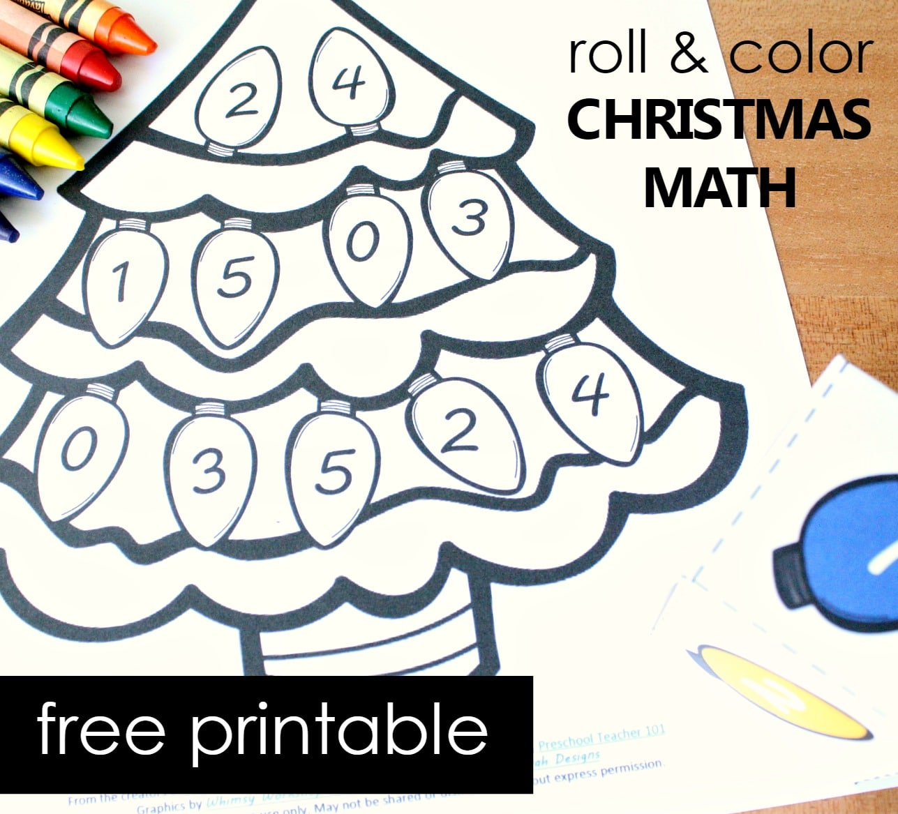 Free Printable Christmas Tree Number Matching Math