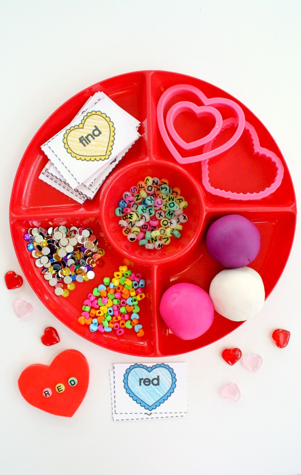 candy heart play dough