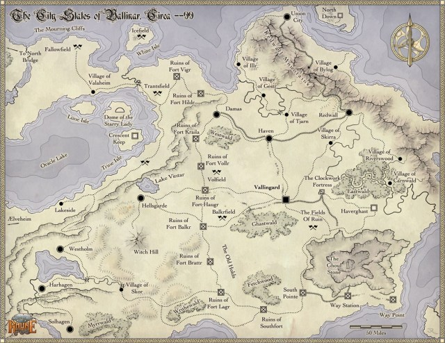 Fantasy map of the cities of Vallinor for the game setting of Rhune