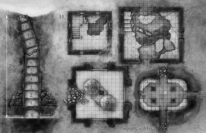 Phoenix Tower fantasy dungeon map