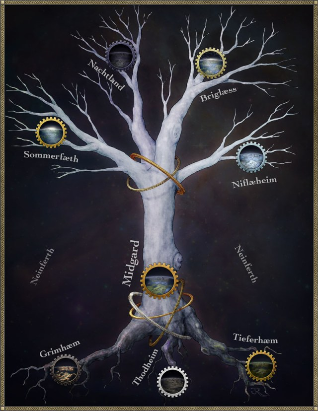 Fantasy map of the great world tree in the Pathfinder game of Rhune