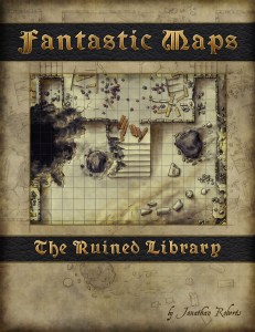 Fantasy map pack cover for the ruined library