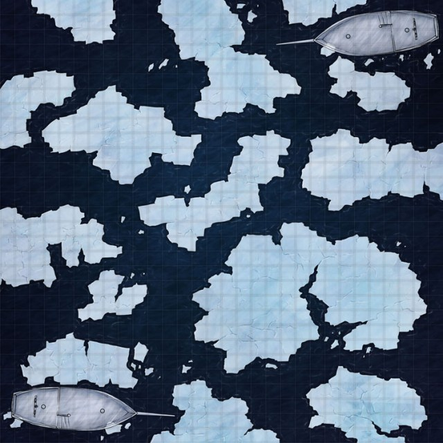 Fantasy battlemap of glass ships in a field of icebergs
