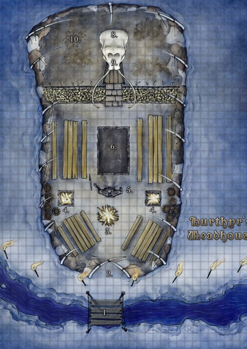 Giant's Meadhall fantasy battlemap for D&D, 4e and Pathfinder for sale on RPGNow