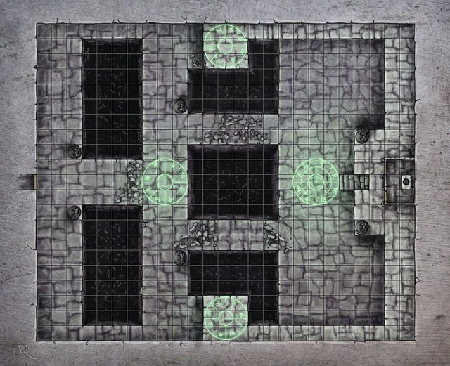 Necromancer's lair fantasy map for a 4e dungeon map for Kobold Quarterly