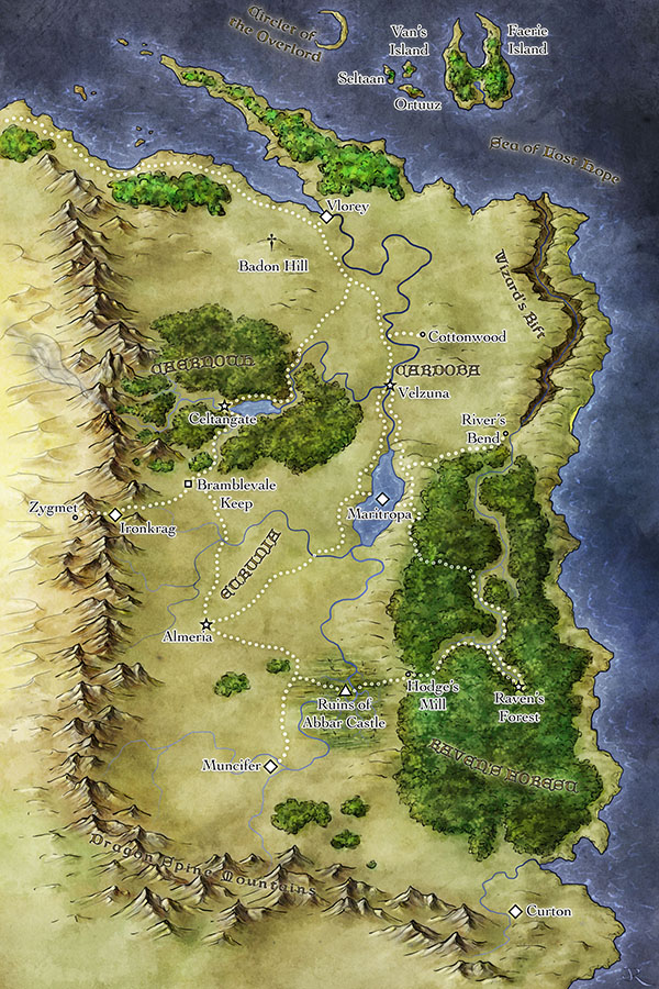 Map of The Fantasy world of Calliome from Wings of Twilight