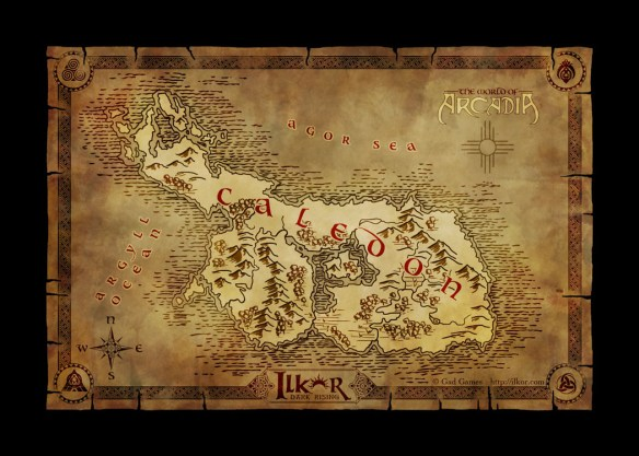 fantasy map of the continent of Caledon for the browser based MMORPG Ilkor: Dark Rising