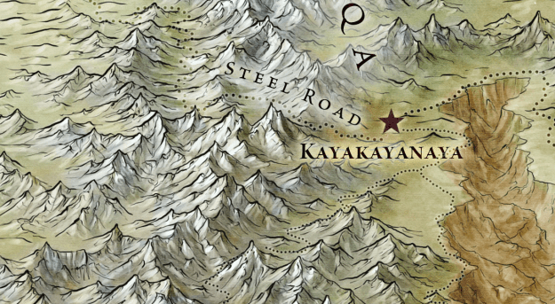 The Steel Road and Bone Mountains from the Official Map of Essos
