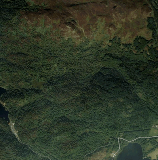 Forested Hills mapmaking tutorial reference - The Trossachs in Scotland, from Google Maps