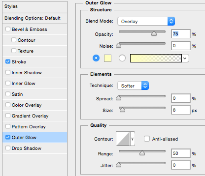 How to add an outer glow to text