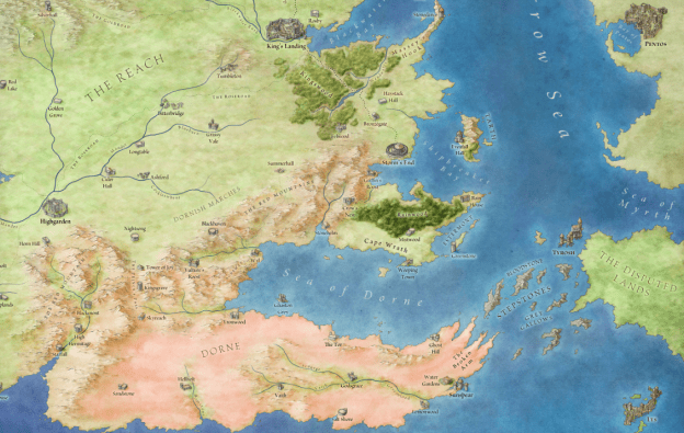 Dorne, from the Lands of Ice and Fire © George RR Martin, used with permission