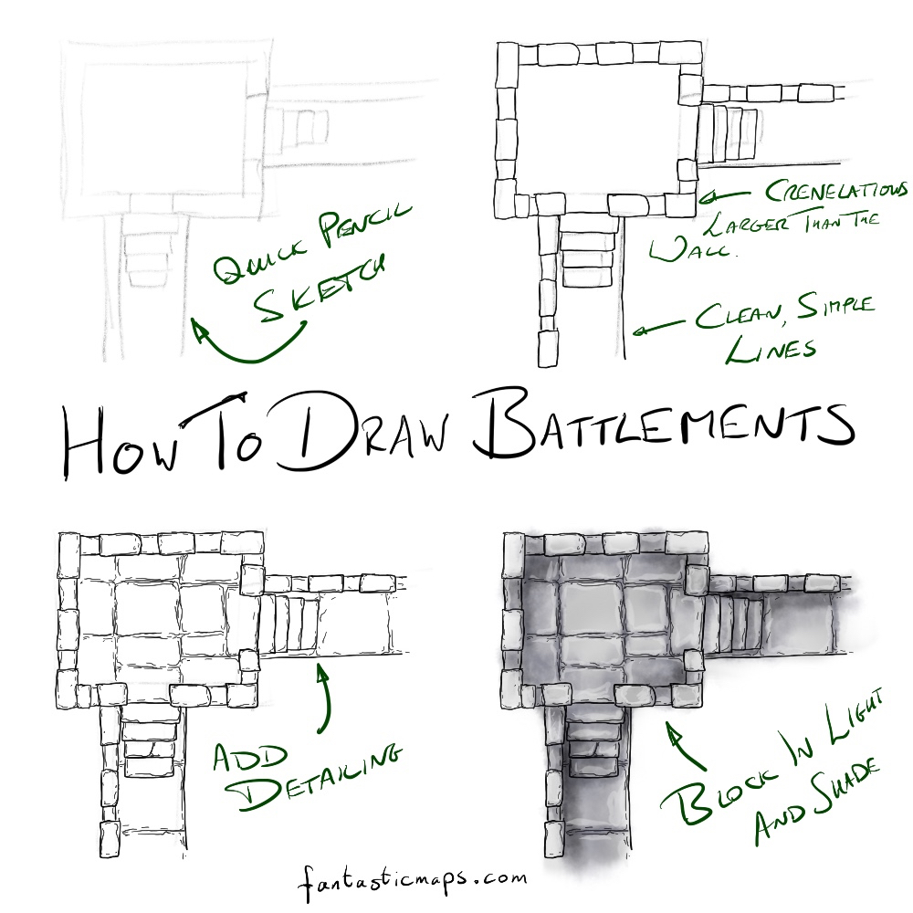 How to Draw a Castle Wall - Fantastic Maps