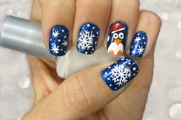 Nail Art Creative Christmas Themed Snow And Pinguin Print Design With Cool Blue Glitter