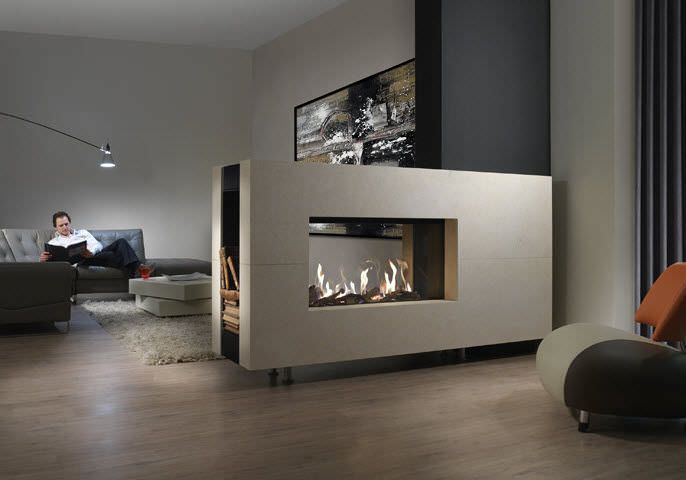 15 Ultra Modern Two Sided Fireplaces That Make A Real Wow