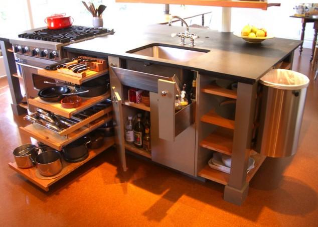 mini cocina 634x452 17 Ideas creativas que pueden ayudarle a ahorrar algo de espacio en su cocina