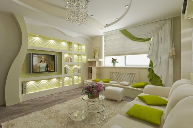 Modern Living Room With Pop False Ceiling Design And Wall