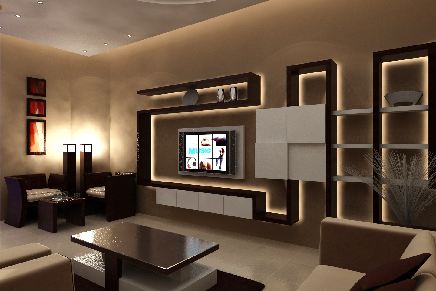 themes for living rooms light paint colors room modern with floating tv wall shelf and stylish coffee table on dark rug
